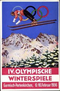 Ak Garmisch Partenkirchen in Oberbayern, IV. Olympische Winterspiele 1936, Skispringen