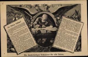 Ak Denkwürdiges Dokument für alle Zeiten, Kaiser Franz Joseph I., An meine Völker