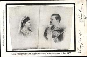 Ak König Alexander von Serbien, Königin Draga, Trauerkarte zum Tod 1903