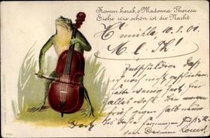 Litho Komm herab, O Madonna Theresa, Frosch mit Cello