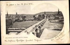 Ak St Johann Saarbrücken im Saarland, Stadt mit alter Brücke