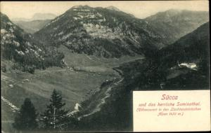 Ak Sücca Sücka Liechtenstein, Panorama vom Ort und Saminatal