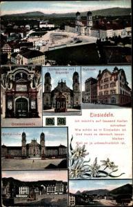Ak Einsiedeln Kanton Schwyz Schweiz, Stiftskirche mit Brunnen, Rathaus, Gnadenkapelle, Panorama