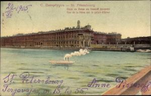 Ak Sankt Petersburg Russland, Vue de la Neva sur le palais d'hiver