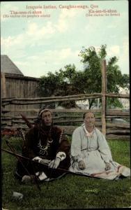 Ak Caughnawaga Kahnawake Quebec Kanada, Iroquois Indian, Trachten