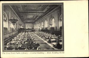 Ak New York City USA, Public Library, Central Building, Main Reading Room