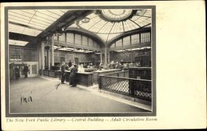 Ak New York City USA, Public Library, Central Building, Adult Circulation Room