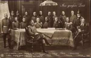 Ak Aus großer Zeit, Kaiser Wilhelm II., Prinzen, Generalstab, Hindenburg, Ludendorff,NPG