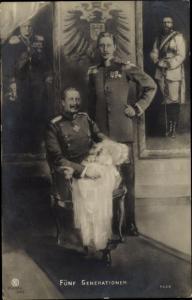Ak Fünf Generationen, Kaiser Wilhelm II, Kronprinz Wilhelm, Erbprinz, Friedrich III., RPH 5429