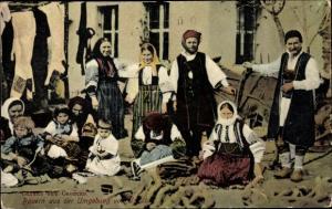 Postcard Macedonia, Bauern aus der Umgebung von Uskübi