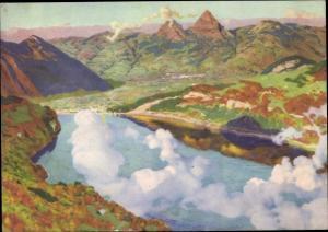 Künstler Ak Kanton Uri und Schwyz Schweiz, Fliegeraufnahme