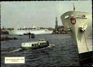 Ak Hamburg Hafen, Michel, Marine Bundestreffen 1960, Passagierschiff Gripsholm