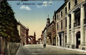 Ak Eger Erlau Heves Ungarn, Weinstadt in Ungarn, Szechenyi Straße, Gebäude
