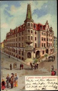 Künstler Litho Karlovy Vary Karlsbad Stadt, Grand Hotel Schützenhaus