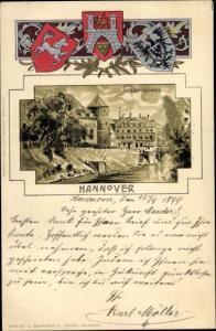 Präge Wappen Passepartout Litho Hannover in Niedersachsen, Leineufer
