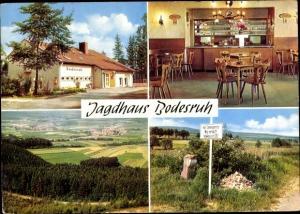 Ak Bodesruh Heringen an der Werra, Jagdhaus Bodesruh, Außen- u. Innenansicht, Panoramablick