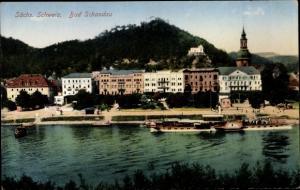 Ak Bad Schandau Sächsische Schweiz, Teilansicht, Salondampfer