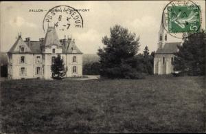 Ak Vallon en Sully Allier, Chateau de Champigny, pelouse, eglise