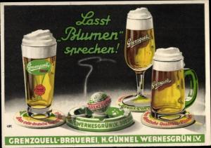 Ak Bier, Reklame Grenzquelle Brauerei, H. Günnel Wernesgrün i.V.