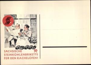 Künstler Ak Reklame Sächsische Steinkohlenbriketts für den Kachelofen