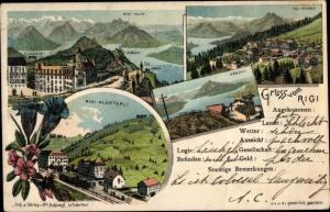 Litho Luzern Kt Schweiz, Rigi Kulm, Rigi Klösterli