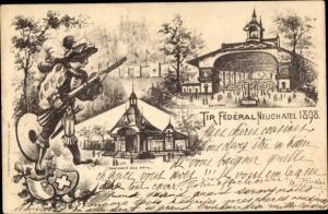 Künstler Ak Neuchâtel Kanton Neuenburg, Tir Federal Neuchatel 1898, Pavillon des Prix, Wappen