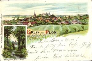 Litho Plön in Schleswig Holstein, Schlossgarten, Blick vom Stern, Totalansicht