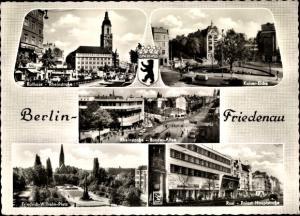 Ak Berlin Schöneberg Friedenau, Rathaus, Kaiser Eiche, Rheinstraße, Bundesallee, Roxi Palast, Wappen