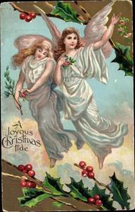 Präge Litho Glückwunsch Weihnachten, Zwei Engel, Stechpalmenzweige
