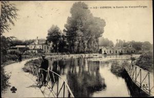 Ak Vierzon Cher, Le Bassin de Vierzon Forges, Radfahrer