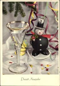 Ak Prosit Neujahr, Figur eines Schornsteinfegers, Sektglas