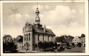 Ak Snamensk Wehlau Ostpreußen, Marktplatz mit Rathaus