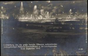 Künstler Ak Artillerie Trommelfeuer und Leuchtgranaten, Propaganda I. WK, Ende September 1915