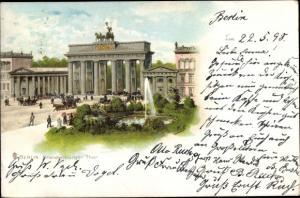 Litho Berlin Mitte, Brandenburger Tor, Brunnen, Kutsche
