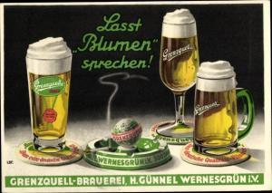 Künstler Ak Lasst Blumen sprechen, Grenzquell Brauerei, H. Günnel, Wernesgrün, Zigarette