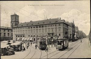 Ak Karlsruhe in Baden Württemberg, Marktplatz und Kaiserstraße, Tram