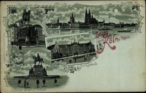 Litho Köln am Rhein, Justizgebäude, Friedr. Wilhelm III. Denkmal, Kaiser Wilhelm I Denkmal