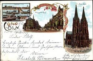 Litho Köln am Rhein, Hohenzollernring, Dom, Rheinbrücke