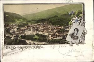 Litho Mürzzuschlag Steiermark, Panorama mit Portrait