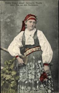 Ak Brașov Brassó Kronstadt Rumänien, Sächsische Bäuerin
