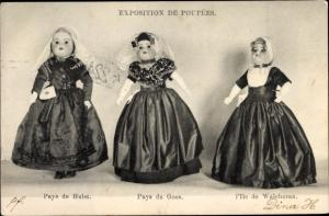 Ak Exposition de Poupees, Puppen in niederländischer Tracht, Pays de Hulst, Goes, Ile de Walcheren
