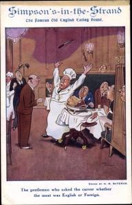 Künstler Ak Bateman, H. M., Simpson's in the Strand English Eating House, Koch, Humor