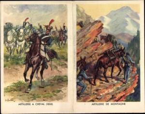Klapp Künstler Ak Engagements dans les Troupes Metropolitaines, Artillerie a cheval, Montagne