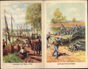 Klapp Künstler Ak Engagements dans les Troupes Metropolitaines, Passage du Rhin 1795, Sapeurs