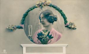 Relief Ak Glückwunsch Neujahr, Frauenportrait, Sektglas, Blumenstrauß, Rotophot 944/5