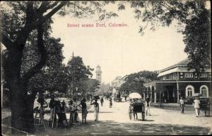 Ak Colombo Ceylon Sri Lanka, Street Scene Fort