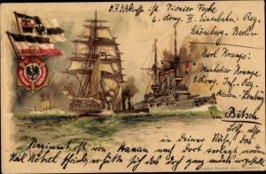 Künstler Litho Bohrdt, Hans, Deutsche Kriegsschiffe, Fahne, Deutscher Flottenverein