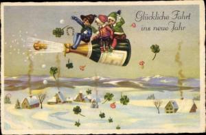 Ak Glückwunsch Neujahr, Kinder auf fliegender Sektflasche, Kleeblätter, Hufeisen, Fliegenpilze