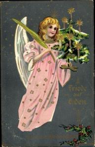 Präge Litho Glückwunsch Weihnachten, Engel, Tannenbaum, Palmzweig, Stechpalmenzweige
