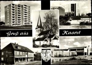 Ak Holzbüttgen Kaarst Rhein Kreis Neuss, Kirche, Hochhäuser, Geschäft, Wappen